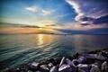 Картинка море, небо, гладь, камни