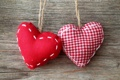 Картинка ткань, красная, сердца, подушечки, сердечки
