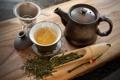 Картинка зеленый, чай, чайник, пар, заварка, пиала