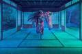 Картинка девушка, ночь, танец, веер, юката, art, erhu