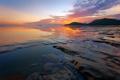 Картинка закат, камни, скалы, небо, облака, море, отлив