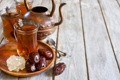 Картинка чайник, чашки, ложки, финики, арабский чай