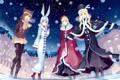 Картинка зима, снег, ночь, девушки, шапка, дома, аниме