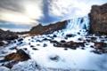 Картинка лед, зима, небо, облака, река, камни, водопад