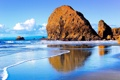 Картинка море, небо, облака, скала, камень, волна, прибой