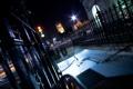 Картинка ночь, башня, ограда, светофор, подземка