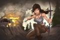 Картинка взгляд, девушка, самолет, огонь, дым, арт, Tomb Raider