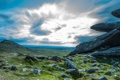 Картинка облака, горы, небо, панорама, камни