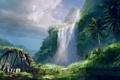 Картинка дорога, мост, пальмы, остров, водопад, Far Cry: 3