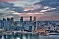 Картинка небо, закат, город, Singapore