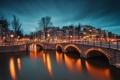 Картинка дорога, свет, мост, город, огни, река, здания