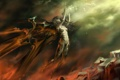 Картинка девушка, скала, магия, механизм, крылья, искры, зарево