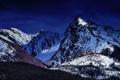 Картинка лес, снег, деревья, горы, природа, вечер, Канада