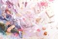 Картинка девушка, цветы, книги, собака, аниме, лепестки, арт