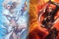Картинка оружие, девушки, посох, кинжалы, League of Legends, Katarina, Janna