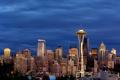 Картинка огни, небоскребы, вечер, США, Seattle