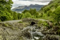 Картинка дорога, деревья, горы, мост, камни, Англия, речка