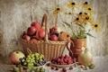 Картинка корзина, виноград, яблоки, натюрморт, малина