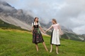 Картинка горы, Femjoy Magazine, платья, брюнетка, блондинка