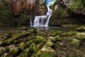 Картинка скала, камни, Франция, водопад, мох, Franche-Comte