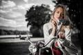 Картинка взгляд, девушка, мотоцикл