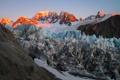 Картинка ледник, рассвет, зима, горы, снег, вершины