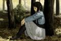 Картинка грусть, осень, листья, девушка, деревья, аниме, арт