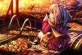 Картинка осень, листья, девушка, деревья, природа, аниме, шарф