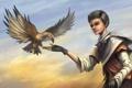 Картинка птица, орел, рука, аниме, шарф, арт, парень