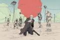 Картинка песок, оружие, фантастика, пустыня, роботы, арт, Antonio Banderas
