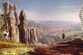 Картинка гигантские, река, корни, человек, арт, растения, существа