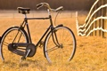 Картинка поле, велосипед, ограда