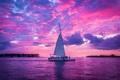 Картинка небо, облака, закат, озеро, яхта, парус