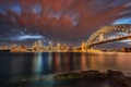 Картинка ночь, мост, пролив, вечер, Сидней
