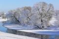 Картинка зима, иней, небо, снег, деревья, река