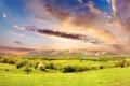 Картинка зелень, небо, трава, облака, свет, деревья, горы
