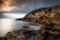 Картинка камни, берег, небо, облака, тучи, море