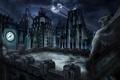 Картинка крыша, ночь, здания, Batman, Гаргулья, Gotham City