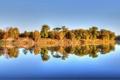 Картинка деревья, река, отражение, осень
