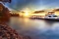 Картинка пейзаж, река, корабль