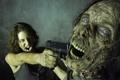 Картинка пистолет, зомби, Maggie, крик, The Walking Dead, Ходячие мертвецы, Lauren Cohan