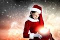 Картинка пакеты, Рождество, девушка, Christmas, New Year, локоны, face