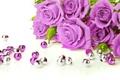 Картинка цветы, розы, фиолетовые, бусины, бутоны