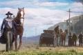 Картинка лошади, дорога, поезд, дикий запад, Ковбои, повозка