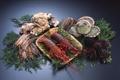 Картинка зелень, вкусно, креветки, морепродукты, устрицы, лангусты