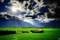 Картинка облака, трава, солнце, холмы, машина, поле, зелень