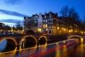 Картинка небо, мост, огни, Амстердам, канал, Нидерланды, Йордан