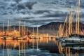 Картинка море, корабли, бухта, яхты, вечер, катера, парусники