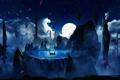 Картинка ночь, звёзды, лепестки, эмблема, desktopography