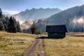 Картинка Бавария, домик, озеро, трава, Германия, деревья, дорога